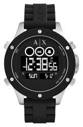 Armani Exchange Men's Ax Multifunction Digital Silicone Strap Watch 48Mm