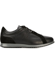 Canali Panelled Lace Up Sneakers Black