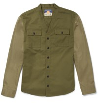Blackmeans Slim Fit Two Tone Cotton Drill Overshirt Green