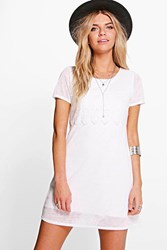 Boohoo Cap Sleeve Lace Trim Shift Dress White