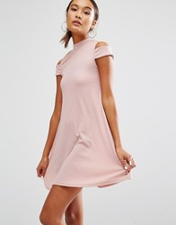 Daisy Street High Neck Dress With Cold Shoulder Dusty Rose