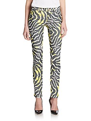 Just Cavalli Abstract Striped Skinny Jeans Yellow
