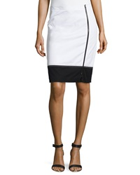 Paperwhite Knit Colorblock Pencil Skirt White Black