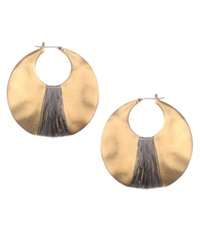 Kenneth Cole New York Earrings Gold Tone Shell Drop Hoop