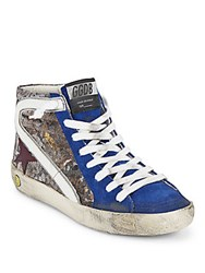 Golden Goose Italian Blended Leather Sneakers Blue Galaxy