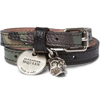 Alexander Mcqueen Camouflage Print Leather Silver Tone And Swarovski Crystal Wrap Bracelet Black