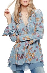 Free People Women's Floral Print Smocked Tunic Blue
