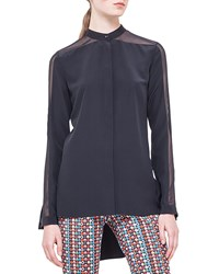 Akris Punto Band Collar Sheer Shoulder Silk Blouse Noir