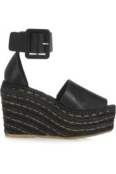 Paloma Barcelo Leather Espadrille Wedge Sandals Black
