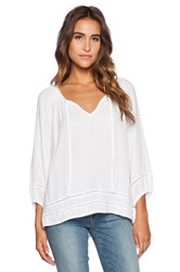 Michael Stars 3 4 Sleeve Boho Top White