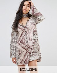 Milk It Vintage Long Sleeve Swing Dress With High Neck Collar In Abstract Animal Print Multi