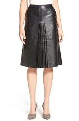 Women's Classiques Entier 'Brenna' Pleat Front Leather Skirt