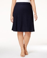 Alfani Plus Size Crocheted A Line Skirt Only At Macy's Modern Navy