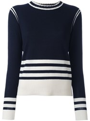 Chinti And Parker Sporty Striped Sweater Blue