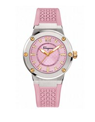 Salvatore Ferragamo F 80 Stainless Steel Diamond Accented Watch Pink