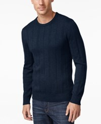 John Ashford Men's Big And Tall Crew Neck Striped Texture Sweater Only At Macy's Navy Blue