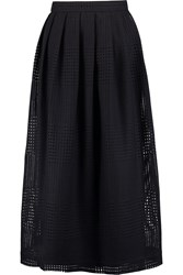 Mother Of Pearl Orion Pleated Open Knit Wool Midi Skirt Blue