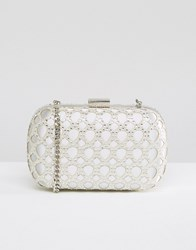 Carvela Box Clutch Bag Silver
