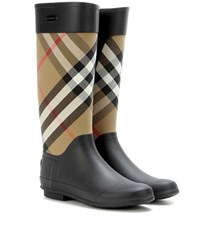 Burberry Clemence Check Rubber Boots Black