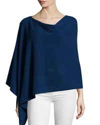 Minnie Rose Cashmere Cowl Neck Poncho Sapphire Blue