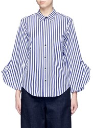 Toga Archives Flared Cuff London Stripe Poplin Shirt Multi Colour