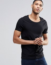 Asos Fitted Fit T Shirt With Scoop Neck And Stretch In Black Black