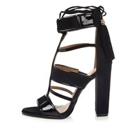 River Island Womens Black Caged T Bar Block Heels