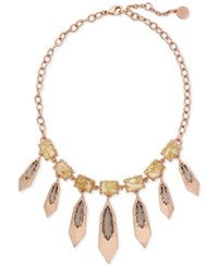 Vince Camuto Rose Gold Tone Stone And Metallic Collar Necklace