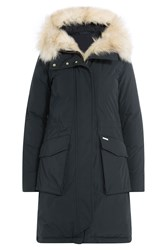 Woolrich Military Eskimo Down Parka With Fur Trimmed Hood Blue