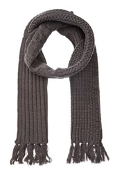 Rogue Multi Knit Wool Fringe Scarf Gray
