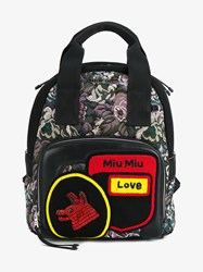 Miu Miu Floral Tapestry And Embellished Leather Backpack Multi Coloured Black Silver Yellow