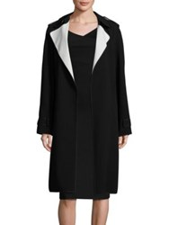 Theory Laurelwood Crepe Trench Coat Black Classic White