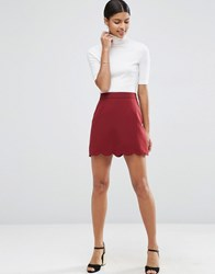 Asos A Line Mini Skirt With Scallop Hem Wine Red