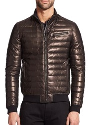 Salvatore Ferragamo Reversible Leather Puffer Jacket Black Metallic