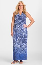 Plus Size Women's Mynt 1792 Ombre Print Sleeveless Cowl Neck Maxi Dress Blue Gradient Snake