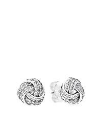 Pandora Design Pandora Stud Earrings Sterling Silver And Cubic Zirconia Sparkling Love Knot