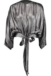 Maria Grachvogel Suki Metallic Pleated Silk Blouse