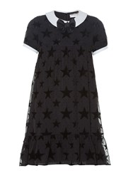 Saint Laurent Flocked Stars Contrast Collar Babydoll Dress