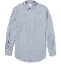 Loro Piana Andre Linen Chambray Shirt Blue