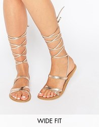 Asos Finder's Keepers Wide Fit Leather Lace Up Sandals Nude Metallic Beige