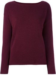 Allude Boat Neck Sweater Red