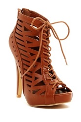 I Heart Footwear Vanessa Peep Toe Platform Stiletto Bootie Brown