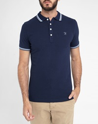 Diesel Navy T Oin Short Sleeve Polo Shirt With Navy White Trim