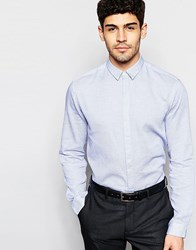 Selected Homme Textured Formal Shirt In Slim Fit Blue