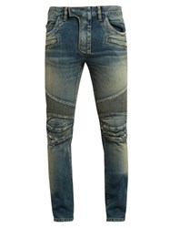 Balmain Biker Distressed Slim Leg Jeans Light Blue