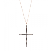 Ileana Makri 18Kt Rose Gold Cross Necklace With Diamonds