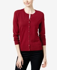 Charter Club Crew Neck Cardigan Only At Macy's New Red Amore