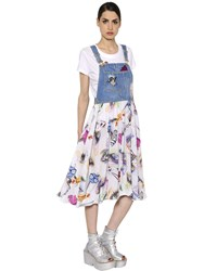 Kenzo Printed Cotton And Denim Overalls Dress