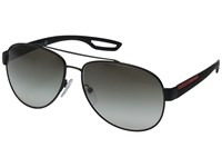 Prada Linea Rossa Ps 55Qs Black Rubber Grey Gradient Fashion Sunglasses