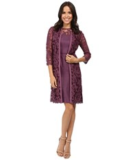 Adrianna Papell Lace Yoke Shimmer Sheath Jacket Ice Plum Women's Dress Purple